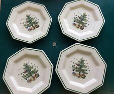 """4 Vintage Chrismastime Nikko Octagon 8-1/4"""" Plates"""