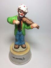 Emmett Kelly Jr Figurine Holding Violin. Music Box. Signed on Base. Musical