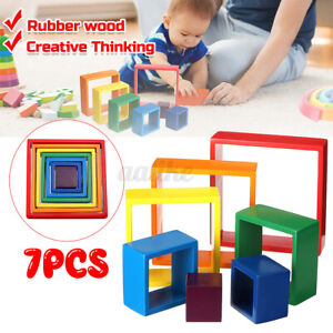 Educational Building Blocks Wooden Rainbow Learning Puzzle Toy Geometry Bricks.
