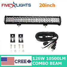20'' inch LED Light Bar Spot Flood 126W Driving Vehicle Boat Ford Car Wire Kit