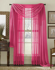 Voile Sheer Window Treatment 2 Piece Solid Sheer Window Panels OR Scarf