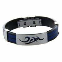 Stainless Steel Cloud Black Blue Silicone Cuff Bracelet Wristband Men D3R6
