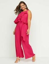 NEW Lane Bryant pink ruffle front belted jumpsuit sleeveless wide leg SZ 14 (1X)