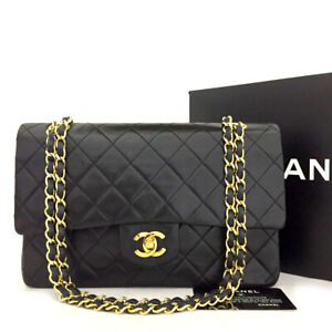 CHANEL Double Flap 25 Quilted CC Logo Lambskin w/Chain Shoulder Bag Black/71297