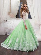 New Formal Ball Gown Stock 6-14 Size Wedding Flower Girls Princess Pageant Dress