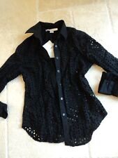 BOSTON PROPER BLACK EYELET EMBROIDERY BUTTON DOWN SHIRT COVER UP 2 NWT