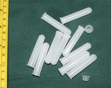 Plastic Test Tubes + Caps Tiny 1ml 48mm x 9mm Pack of 10 Laboratory Storage Lab
