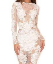 House Of Cb White Lace Long Sleeved Dress (S)