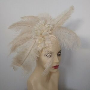 CHAMPAGNE OSTRICH FEATHER FASCINATOR BY HATS2GO