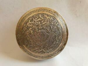 Beautiful engraved birds antique silver Persian box 2, 19th. Cent. marked