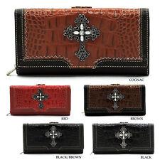 Genuine Leather Croc Embellished Cross Wallet Western Womens Wallet