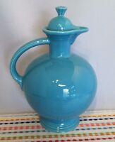 Vintage Fiestaware Turquoise Carafe with Lid Fiesta Blue Water Jug 1930s 1940s