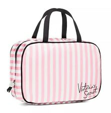 Victoria's Secret Hanging Travel Case Cosmetic Bag Pink White Striped New.