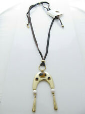 Lucky Brand Gold Tone Leather Cord Tortoise Stone Pendant Necklace