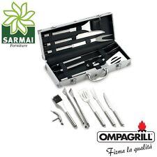 Set kit 6 pz accessori griglia barbecue BBQ attrezzi inox utensili con valigetta