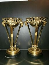Lot of 2 Vintage Brass Rams Head Stand decorative crafts inc with bowl insert