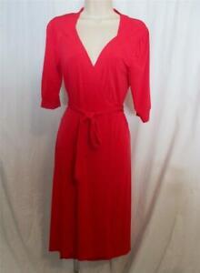Women Size S Merona Red Knit Dress Wrap Style Tie Waist 3/4 Sleeve Polyester