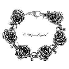 Vintage 3D Rose Flower Link Stainless Steel Chain Bracelet for Men Women Girls