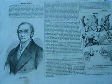 Gravure 1854 - Silvio Pellico vient de mourir à Turin