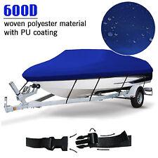 17-19 ft Trailerable Fish Ski Boat Cover 600D Waterproof Beam 125 V-Hull Blue