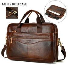 Men Genuine Leather Business Briefcase Handbag Laptop Shoulder Messenger Bag US