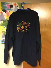 Vintage Crewneck Sweatshirt Embroidered Leaves Acorns Fall Autumn Large Navy
