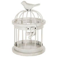 White Metal Bird Cage. Interesting Tabletop Home Decor.