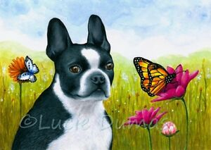 ACEO art print Dog 134 Boston Terrier Buttefly from original painting L.Dumas