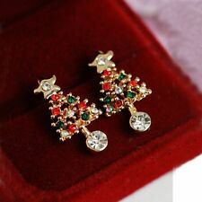 Chic Ear Stud Pierced 1 Pair Rhinestone Fashion Women Christmas Tree Earrings