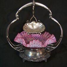 Antique Silverplate Brides Basket Hobnail Cranberry Opalescent Art Glass Bowl