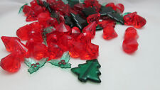Christmas 7oz. Acrylic Tree, Holly Leaf & Gems Vase Fillers / Table Scatter