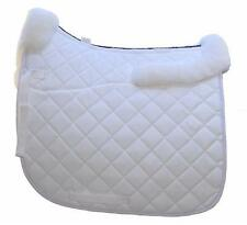 White Contoured Dressage Saddle Pad with Sheepskin Full Size