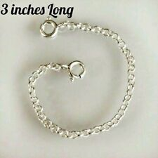 Solid Sterling Silver necklace necklet extender safety chain 3 inches FREE POST