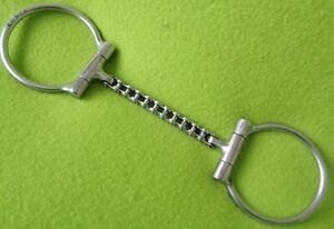 """MAHEU Maker Marked Handmade 5"""" Linked CHAIN Mouth D~Ring Snaffle BIT~SUPER Cond"""