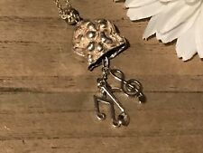 Recycled Flatware Jewelry, Flatware w/ Music Notes Pendant