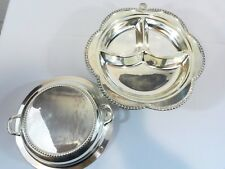 Vintage Hot Water Tray Cresent Silver on Copper Silverplate Divided Cover