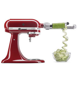 "NEW -Kitchenaid Stand Mixer Spiralizer Attachment w/Peel, Core & Slice 1"" Silver"