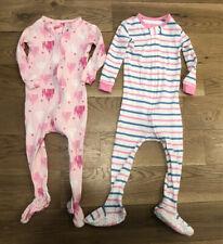 Baby Gap Toddler Girls Footed Zip Pajamas- lot of 2 Size 18-24 Months
