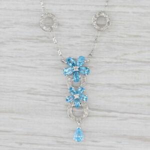 """5.10ctw Blue Topaz Diamond Flower Lariat Necklace 16.5"""" Cable Chain"""