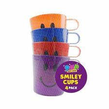 4 x Smiley Face Cups Childrens Kids Plastic Party Garden Beach Mugs