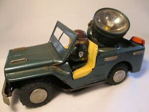 1960s BATTERY OPERATED SEARCH LIGHT TIN JEEP NOMURA JAPAN