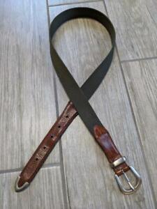 WOOLRICH canvas leather 34 green belt