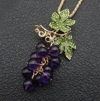 Women's Green Crystal Purple Grapes Pendant Betsey Johnson Necklace/Brooch