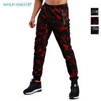 Mens Drawstring Camo Pants Zipper Pockets Sport Gym Sweatpants Joggers Trousers
