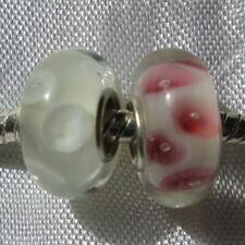 2 PERLES DONUTS NOIR ET BLANC CHARMS LAMPWORK COMPATIBLES CHAINE SERPENT *D592