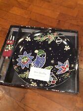 vera bradley holiday owls Snack Plate & Spreader 2Pc Set Nib