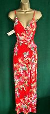 Monsoon Coral Red Floral Callie Stretch Jersey Holiday Maxi Dress 10 12 14 UK 10 (usa6/eur38)