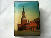 Vintage USSR Wooden Lacquer Box hand made Kremlin Moscow 1949 year