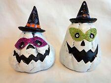 WHITE PUMPKIN FIGURINE Set of 2 Jack O Lantern Witch Hat Glitter Masks Halloween
