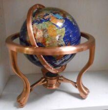 """9"""" World Globe GEM GEMSTONE 3 Leg Claw Feet Copper Table Stand NICE"""